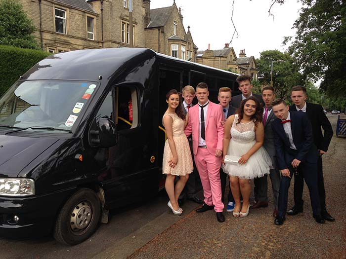 School prom night out with party limo bus malton