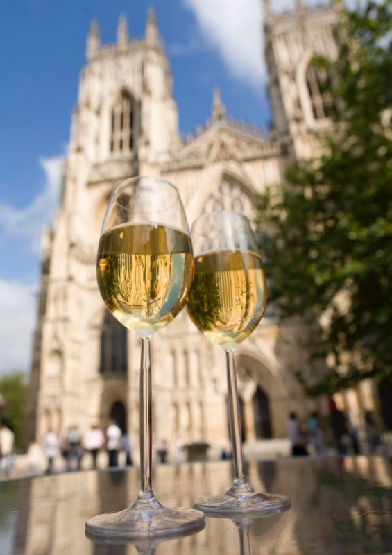 York Minster champagne in limo