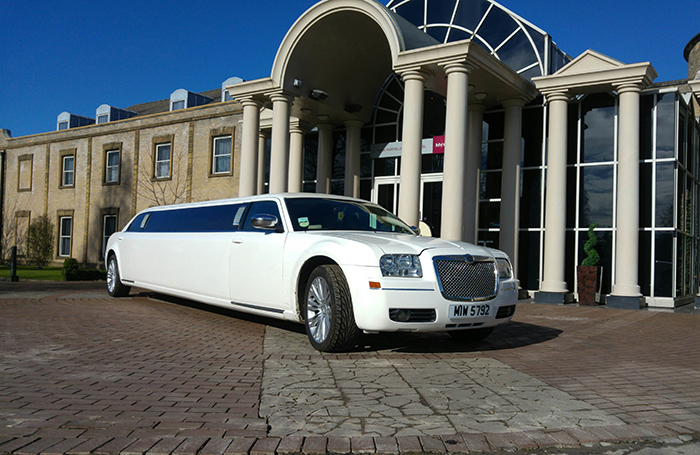 White Stretch limo for hire in Yorkshire