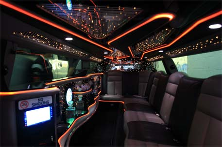 Inside Chrysler stretch limousine