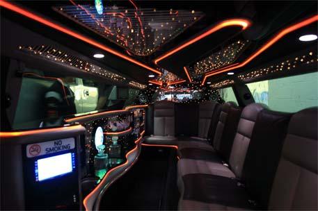 Inside Chrysler stretch limousine