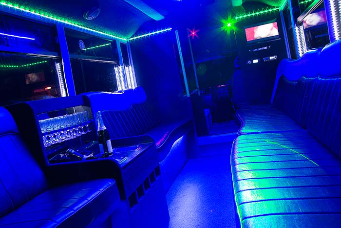 inside 16 seater limo party bus york