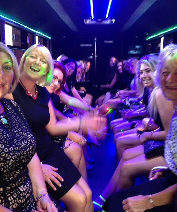 Hen do night out hire inside limousine york