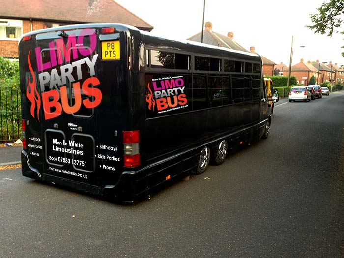 outside Limo Party Bus for hire in Yorkshire
